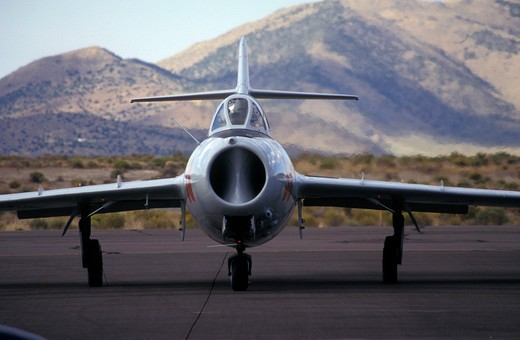 Military Jets Fixed Wing Aviat Airplanes MiG-15 Russian fighter head on : Stock Photo