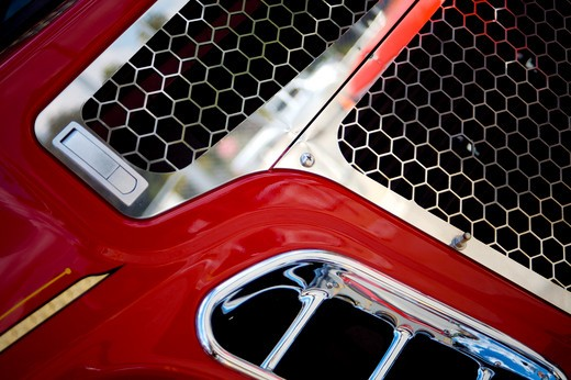 A close up detail shot of a Fire Engine : Stock Photo
