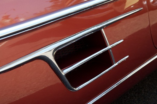 A close up detail shot of a 1960 Cadillac side vent : Stock Photo