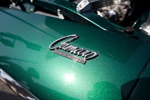 Stock Photo: 4093-28061 A close up detail shot of an old green Chevrolet Camaro