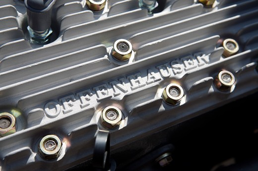 A close up detail shot of a Offenhauser engine : Stock Photo