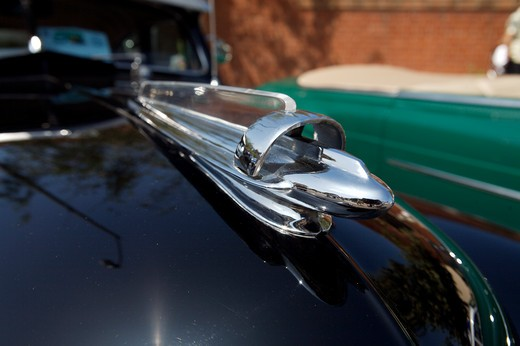 Stock Photo: 4093-28074 A close up detail shot of a 1948 Chevrolet Fleetline hood ornament