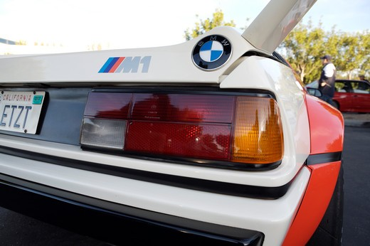 Stock Photo: 4093-28099 A close up detail shot of a BMW 1971 M1 rear tail and spoiler or wing