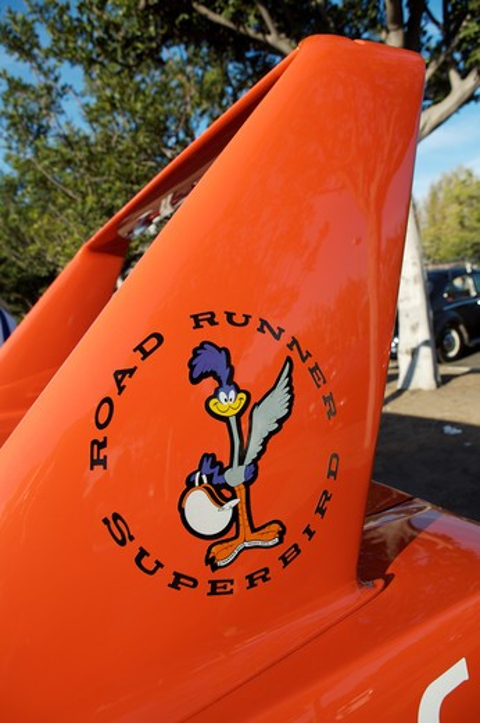 Stock Photo: 4093-28109 A close up detail shot 1970 Plymouth Roadrunner Runner Super Bird