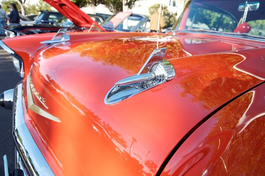Stock Photo: 4093-28112 A close up detail shot of a 1957 Chevrolet Bel Air
