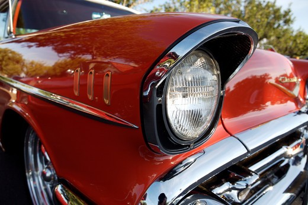 Stock Photo: 4093-28114 A close up detail shot of a 1957 Chevrolet Bel Air headlight