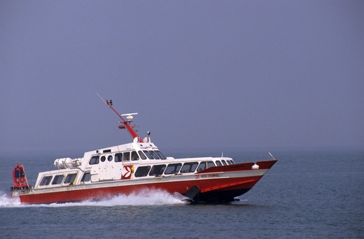 Commercial hydrofoil red white spray : Stock Photo
