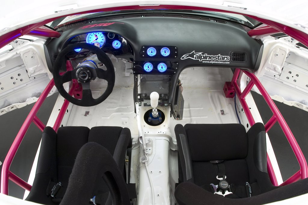 Stock Photo: 4093-3552 240SX Nissan race drifter in the studio.  view from above of the interior