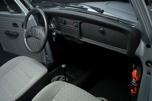 Silver Volkswagen Beetle interior : Stock Photo