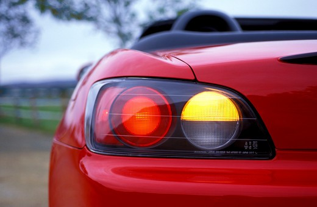 detail Honda S2000 2001 red tail light street : Stock Photo