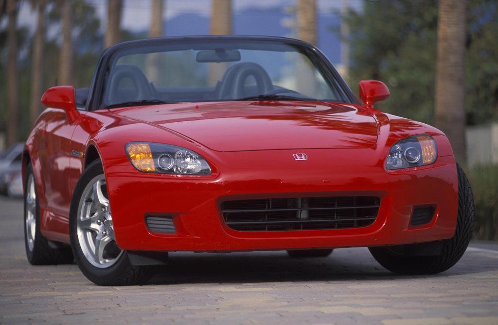 Stock Photo: 4093-4064 Honda S2000 2001 red tree-lined street