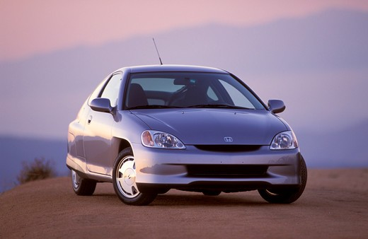 Hybrid Honda Insight 2001 silver : Stock Photo