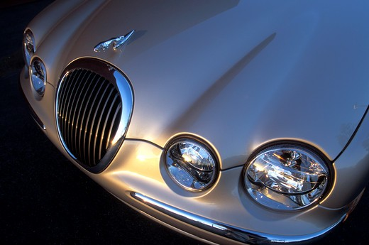 Stock Photo: 4093-4083 detail Jaguar S-Type 2001 gold grille grill nose headlights hood ornament