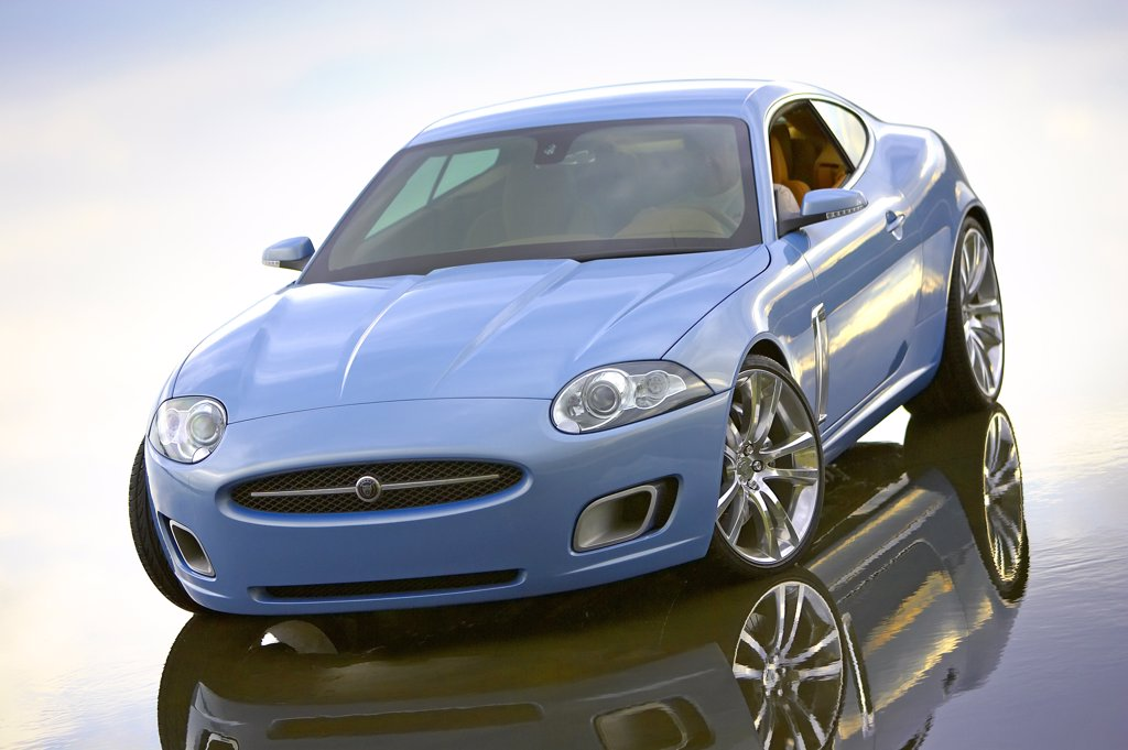Stock Photo: 4093-4933 high angle,2006 Jaguar XK Convertible Blue