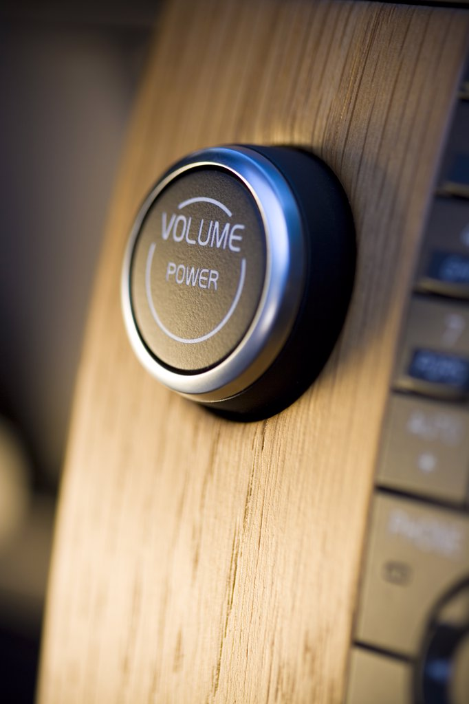 Stock Photo: 4093-5886 2008 Volvo C70 convertable detail of volume and power knob shot in Gothenberg, Sweden