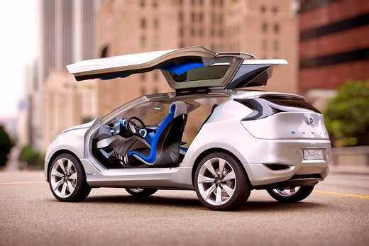2009 Hyundai HCD-11 Nuvis Concept car in city with doors open, rear 7/8 : Stock Photo