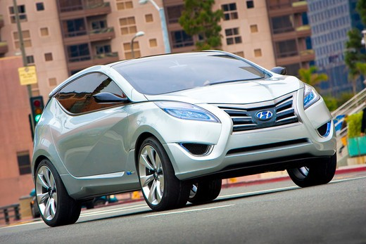 Stock Photo: 4093-6088 2009 Hyundai HCD-11 Nuvis Concept car on the road in city, front 3/4