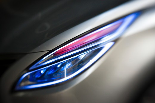 2009 Hyundai HCD-11 Nuvis Concept car headlight, close-up : Stock Photo