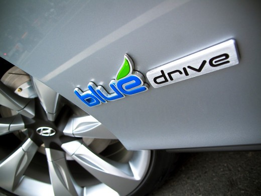 Stock Photo: 4093-6113 2009 Hyundai HCD-11 Nuvis Concept car close-up of logo