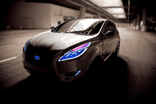 Stock Photo: 4093-6117 2009 Hyundai HCD-11 Nuvis Concept car driving under city, front 3/4