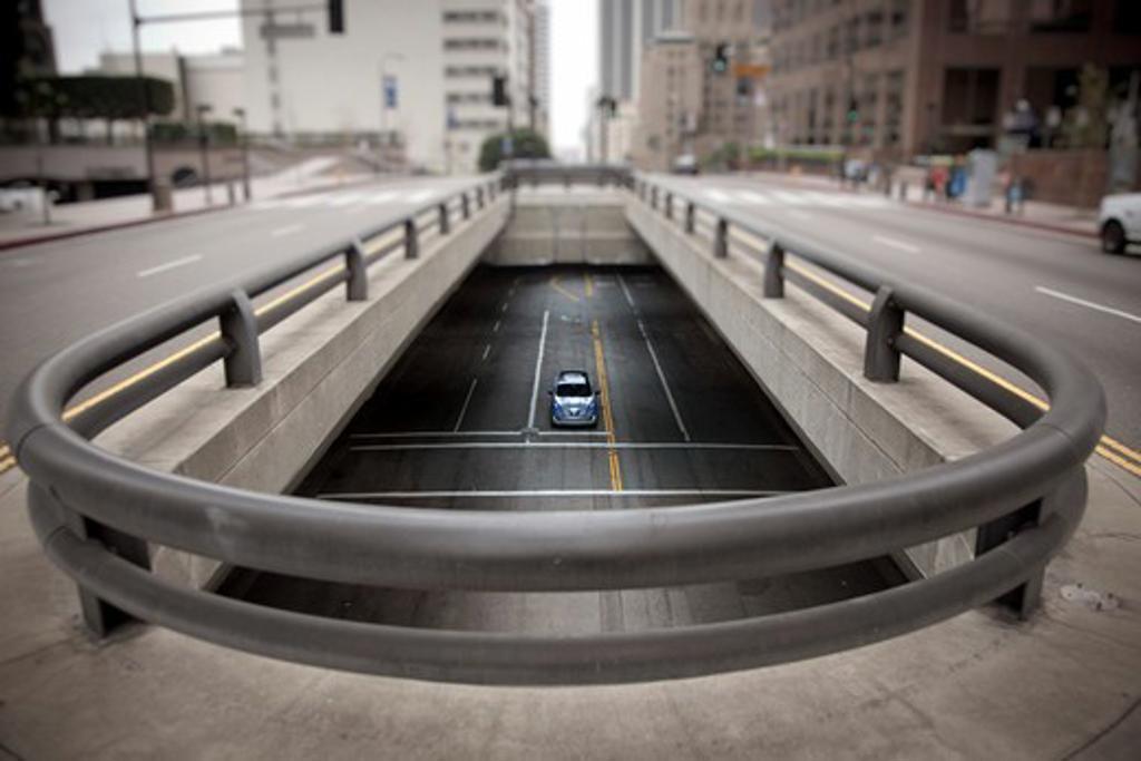 2009 Hyundai HCD-11 Nuvis Concept car driving through under pass, high angle view : Stock Photo