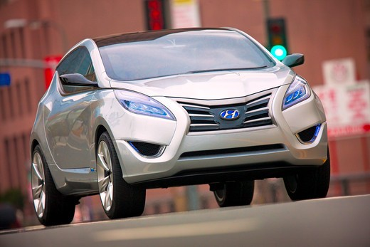 Stock Photo: 4093-6126 2009 Hyundai HCD-11 Nuvis Concept car on the road in city, front 3/4