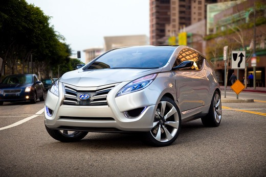 2009 Hyundai HCD-11 Nuvis Concept car on the road in city, front 3/4 : Stock Photo