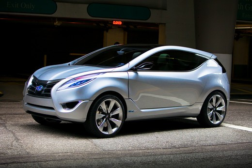 2009 Hyundai HCD-11 Nuvis Concept car parked in underground lot, front, 3/4 : Stock Photo