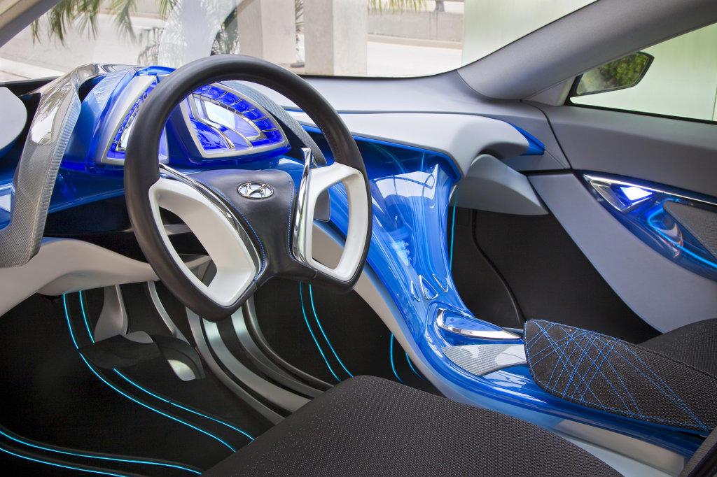 2009 Hyundai HCD-11 Nuvis Concept car interior, close-up : Stock Photo