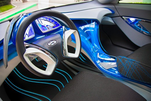Stock Photo: 4093-6160 2009 Hyundai HCD-11 Nuvis Concept car interior, close-up