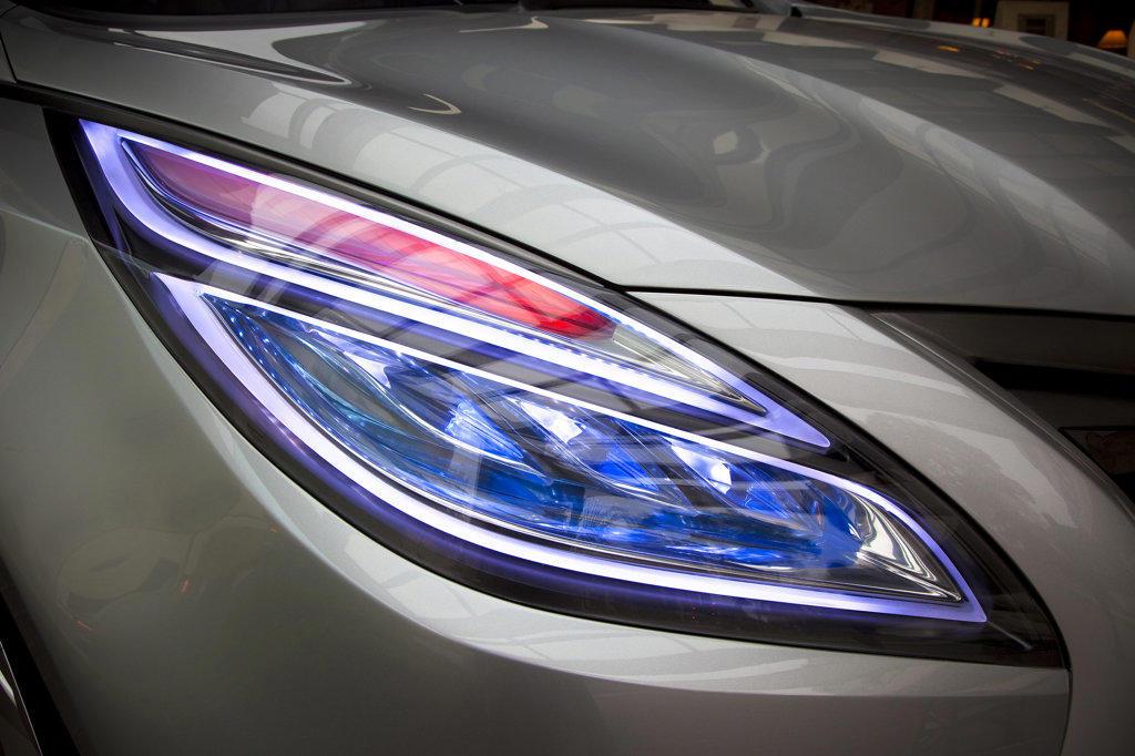 Stock Photo: 4093-6167 2009 Hyundai HCD-11 Nuvis Concept car headlight, close-up