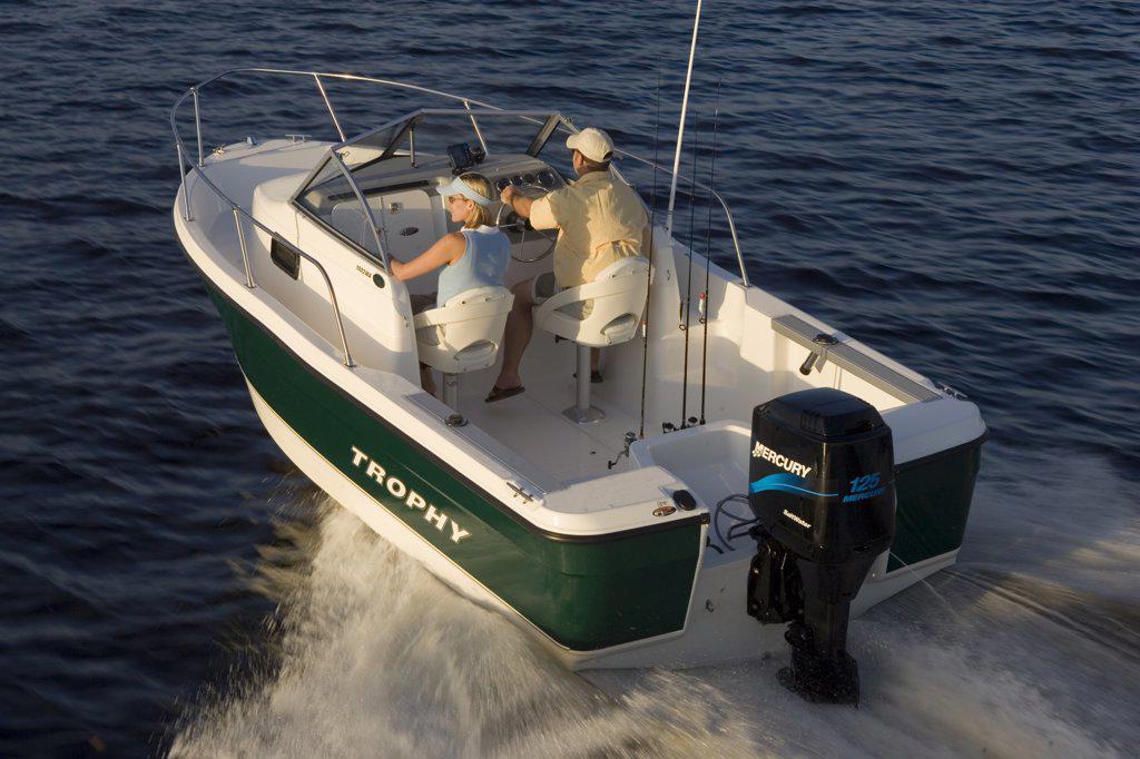 Trophy 1802 Walkaround boat running in San Carlos Bay, Fort Myers, Florida : Stock Photo
