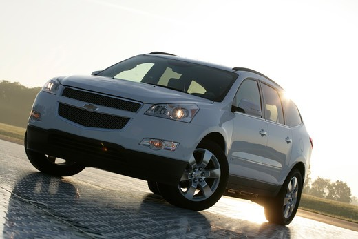 Stock Photo: 4093-8260 2009 Chevrolet Traverse LTZ.  The Chevrolet Traverse is a full-size crossover SUV built on the GM Lambda platform. It features a 3.6 L V6 engine with VVT and direct injection.