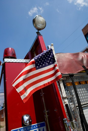 Stock Photo: 4093-8558 2005 Pierce Enforcer with US flag detail on side, close-up