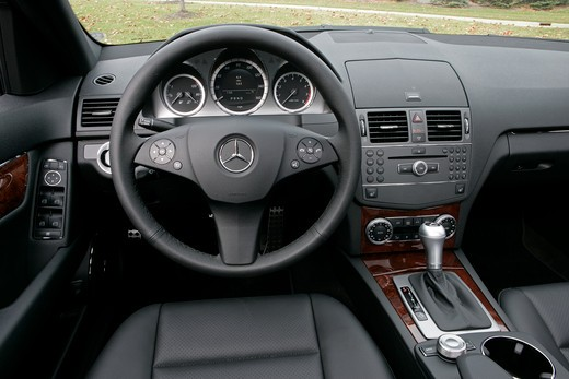 Stock Photo: 4093-8590 2010 Mercedes-Benz C-Class, C300 interior view of steering wheel and IP