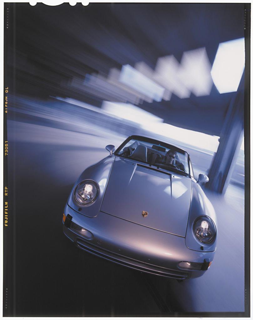 Porsche 911 1998 nose front silver parking garage head on 1990s street city : Stock Photo