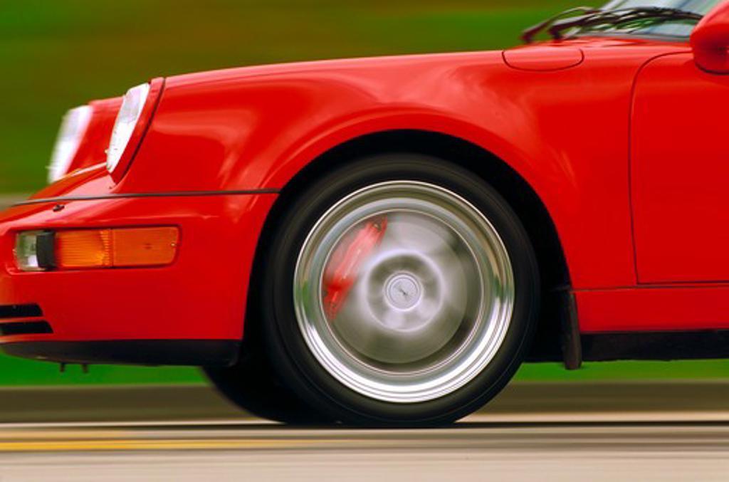 Stock Photo: 4093-9155 Porsche 911 Turbo 3.6 1994 red detail profile wheel fender nose 1990s street