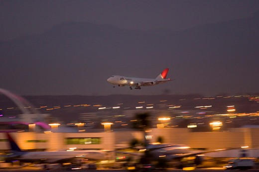 Japan Airlines Boeing 747-200 747 Cargo arriving / landing at LAX Los Angeles International Airport : Stock Photo