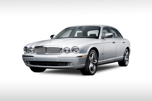 2007 silver Jaguar XJ Super V8 : Stock Photo