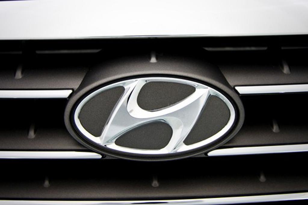 detailed view of Hyundai badge : Stock Photo