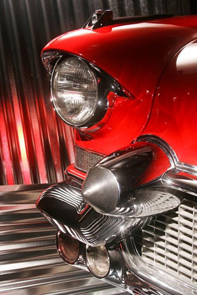 Stock Photo: 4093R-1076 1954 Cadillac El Dorado Bright red in a studio