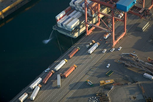 Stock Photo: 4093R-1460 overhead Commercial container carrier cargo freighter port harbor dock Long Beach California aerial