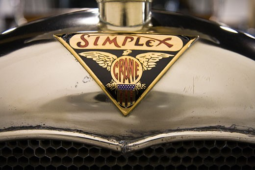 Badge / Logo of a 1916 Simplex Crane, Model 5 Touring Sedan. Owned by the Nethercutt Museum in Sylmar, California. : Stock Photo