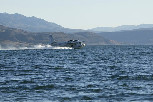 Grumman HU-16 Albatross, twin radial engine amphibious flying boat flying around and landing on Lake Mead, Nevada. Originally designated SA-16. The Albatross was designed to be able to land at sea in open ocean situations in order to effect the rescue of downed pilots. Its deep-V cross-section and substantial length helped make it possible for it to land in wavy conditions.  Since it weighs over 12,500 pounds, pilots must have a type rating in order to act as pilot or co-pilot on board the Alb : Stock Photo