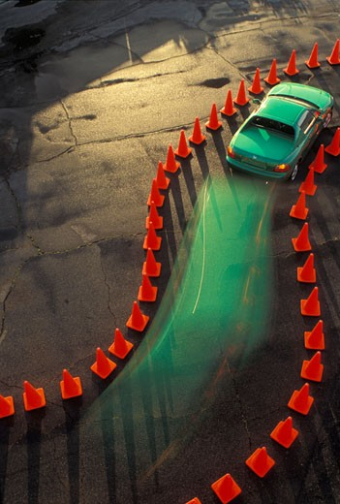 Honda 1993 del Sol targa top green overhead blur curve cornering cones asphalt 1990s aerial : Stock Photo