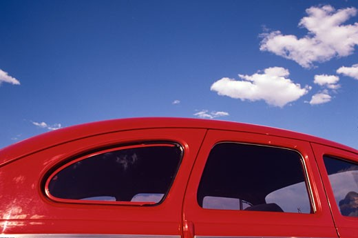 Stock Photo: 4093R-1818 hot rod profile detail windows red race car