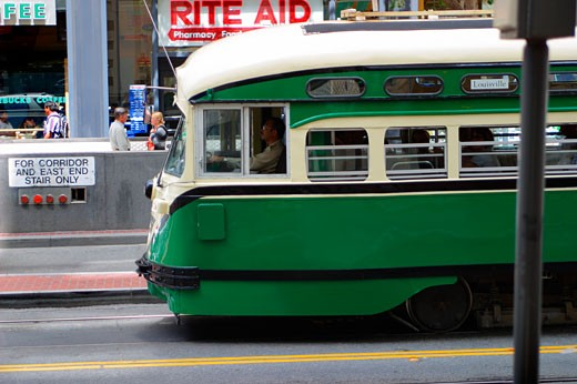trolley cable car electric San Francisco nose street city : Stock Photo