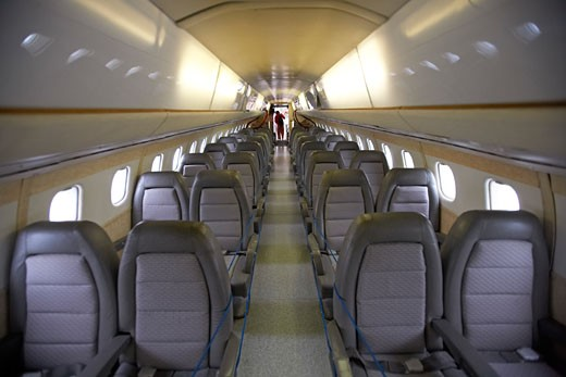 interior Jets General Aviation Fixed Wing Aviat Airplanes Airlines Concorde seats rows : Stock Photo