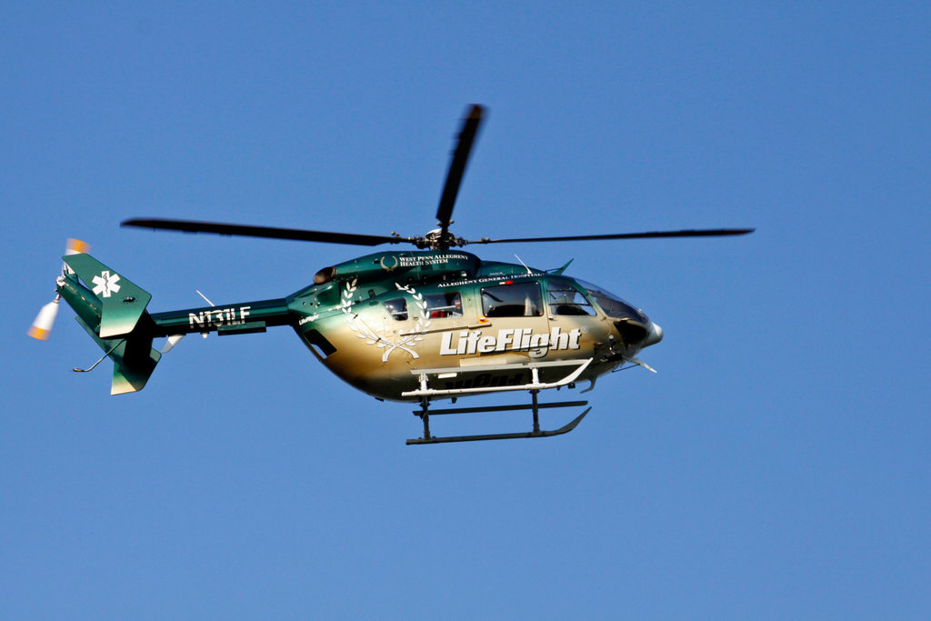 Stock Photo: 4095-104 Medevac helicopter of Allegheny General Hospital in flight, Pittsburgh, Pennsylvania, USA