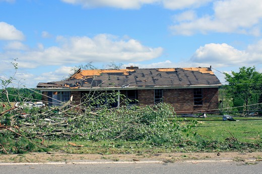 Stock Photo: 4095-106 Damaged home and power lines after a storm ravaged, Limestone County, Alabama, USA